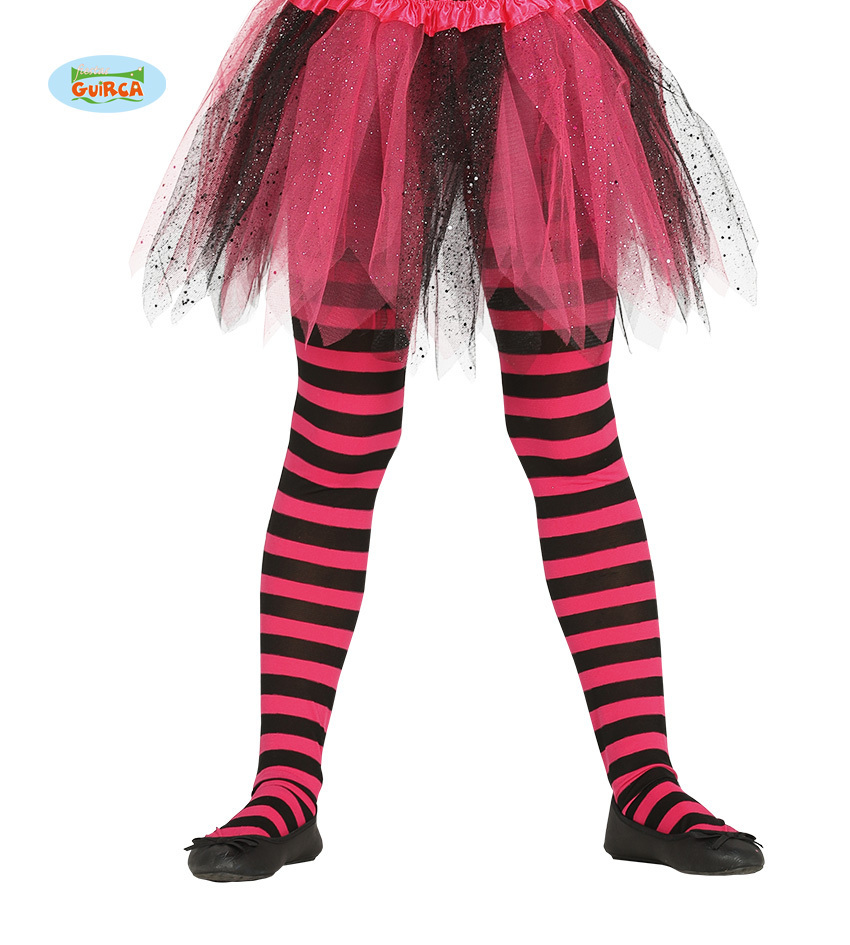 0406e00d2e842 Striped tights fuchsia/ black Kids - KeMa World Shop