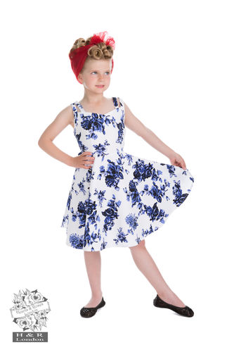 Kinder Retrokleid blaue Rosen