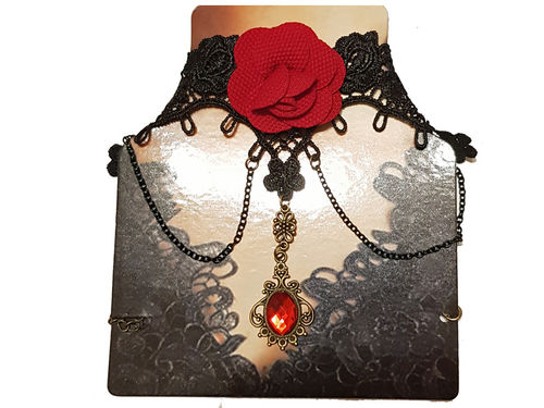 Gothic Spitzen Collier Red Rose